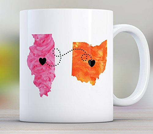 Sister Long Distance State Mug with Quote, Personalized, All States Available, Countries and Provinces too 11oz or 15oz