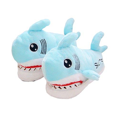 ACTLATI Kawaii Cartoon Shark Women Girls Home Shoes Soft Cute Animal Anti-slip House Slippers Blue SxF6wm6ug