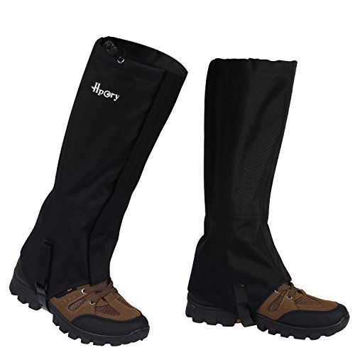(Hpory 1 Pair Hiking Leg Gaiters, Snow Boot Gaiters, Breathable Waterproof Walking High Leg Cover, 600D Anti-tear Oxford Cloth, for Outdoor Research Climbing Fishing Hunting Trimming)