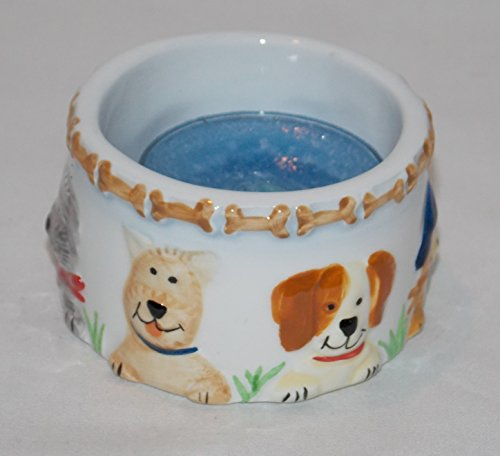 Puppy Dogs Dog and Bones Ceramic Tea Light Candle Holder