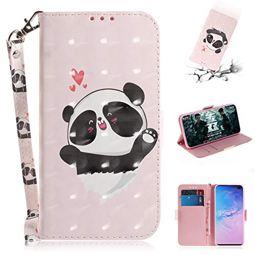 Price comparison product image Flip Wallet Case for Samsung Galaxy S10+ / S10 Plus with Hand Strap, Gostyle PU Leather Case Love Heart Panda Pattern, Bookstyle with Card Slots Magnetic Closure Stand Cover