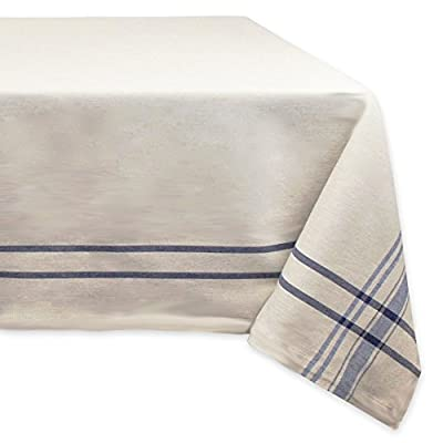 "DII 100% Cotton French Tabletop Collection For Everyday Indoor/Outdoor Dining, Special Occasions or Dinner Parties, Machine Washable, 60x120, Taupe w/Nautical Blue Stripe - CREATE A BEAUTIFUL TABLE SETTING: This French Stripe table runner is taupe in color with woven nautical stripes measures 60x120"" and fits a table that seats 10-12 people; Beautiful on its own but also pairs easily with other items in this collection HIGH QUALITY & EASY CARE: Our tablecloths are well made and long lasting, 100% cotton quality fabric with a 1"" hem CARE: Machine wash, cold water, gentle cycle and tumble dry low; Low iron if needed; Pull from dryer when damp to prevent from shrinking ENHANCE YOUR HOME: This tablecloth brings a finishing touch to your dining decor, whether on their own or in combination with tablecloths, placemats , cloth napkins and rings; For everyday use, holidays, catering events, showers and so much more - tablecloths, kitchen-dining-room-table-linens, kitchen-dining-room - 41RlcQHq8UL. SS400  -"