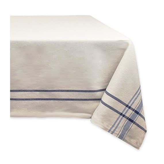 "DII 100% Cotton French Tabletop Collection For Everyday Indoor/Outdoor Dining, Special Occasions or Dinner Parties, Machine Washable, 60x120, Taupe w/Nautical Blue Stripe - CREATE A BEAUTIFUL TABLE SETTING: This French Stripe table runner is taupe in color with woven nautical stripes measures 60x120"" and fits a table that seats 10-12 people; Beautiful on its own but also pairs easily with other items in this collection HIGH QUALITY & EASY CARE: Our tablecloths are well made and long lasting, 100% cotton quality fabric with a 1"" hem CARE: Machine wash, cold water, gentle cycle and tumble dry low; Low iron if needed; Pull from dryer when damp to prevent from shrinking ENHANCE YOUR HOME: This tablecloth brings a finishing touch to your dining decor, whether on their own or in combination with tablecloths, placemats , cloth napkins and rings; For everyday use, holidays, catering events, showers and so much more - tablecloths, kitchen-dining-room-table-linens, kitchen-dining-room - 41RlcQHq8UL. SS570  -"
