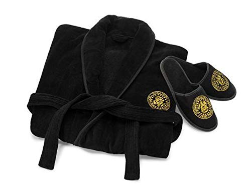 (Donald J. Trump Presidential Seal Evening Wear Bath Robe and Slipper Set Black)