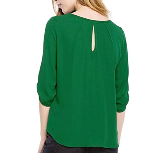 Camicette O Pullover Tops Solido Sciolto donna collo Verde Autunno Lunghe Camicie Casual T Felpa Signora Abcone Elegante Maniche shirt X6xWq