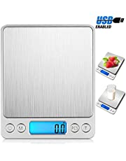 Digital Kitchen Scale, Electric USB Rechargeable Food Scale with 2 Trays, 304 Stainless Steel Waterproof Multifunctional Food Accurate Precision (3kg/0.1g) Electronic Scale with LCD Backlight for Jewelry, Baking, Cooking