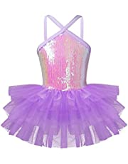 TiaoBug Girls' Sleeveless Halter Sequin Pleated Skirt Ballet Dress Dance Gymnastics Leotard Tutu Dress Costume