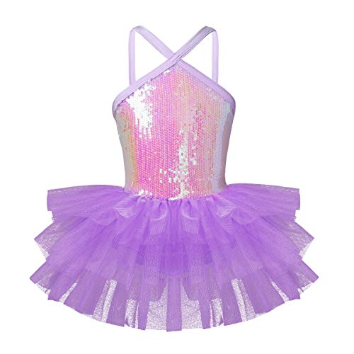 Dance Halter Leotard (ranrann Girls Princess Shiny Sequins Halter Mesh Gymnastic Leotard Ballet Dance Tutu Dress Lavender 5-6)