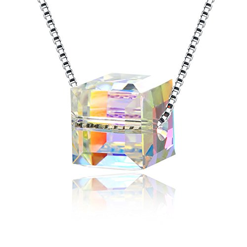 JCHORNOR Cube Pendant Necklace with Aurora Borealis From Swarovski,Jewelry for Women and ()