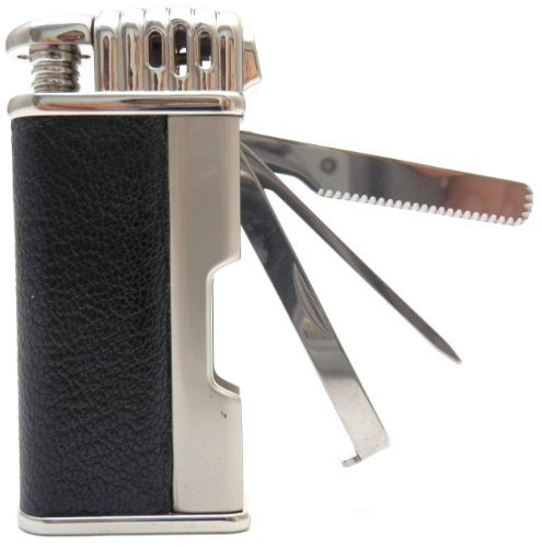 Leather Tobacco Pipe Lighter and Czech Tool - All in One - Model LGHT08 Silver Black
