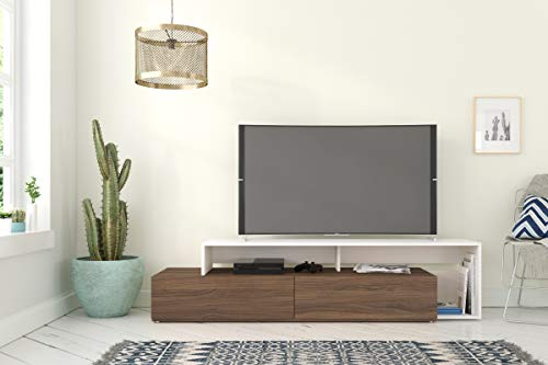 Nexera 112040 Tonik, Walnut & White 72-inch TV Stand, Walnut Melamine and White ()