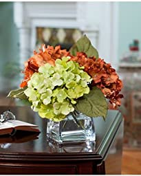 Hydrangea Silk Flower Arrangement - Rust/Green