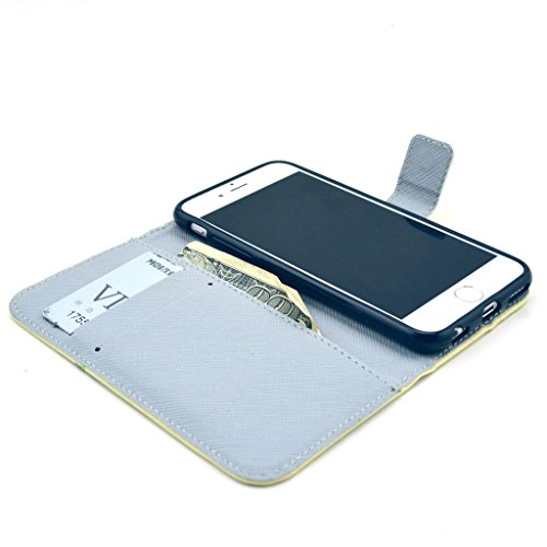 PowerQ [ para IPhone6 IPhone 6 6G - X-12 ] PU Funda Serie bolsa Modelo colorido con bonito hermoso patrón de impresión Impresión Dibujo monedero de la cartera de la cubierta móvil del bolso del teléfo X-14
