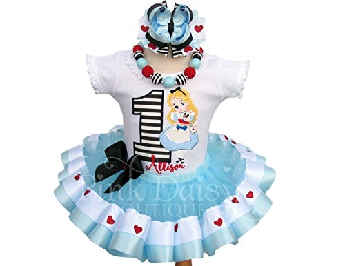(Girls Alice in Wonderland Themed Birthday Outfit with Personalized Shirt and Ribbon Trim Tutu)