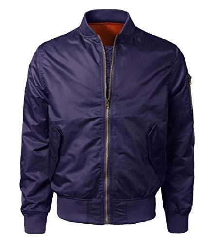 Zip Stand Full Short Collar Jacket Leisure Mens Sleeve Flight Spring XINHEO Navy blue Long UFwHzqUx