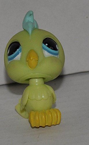 858 Single - Cockatoo #858 (Green, Blue Eyes, Green Tuft) - Littlest Pet Shop (Retired) Collector Toy - LPS Collectible Replacement Single Figure - Loose (OOP Out of Package & Print)