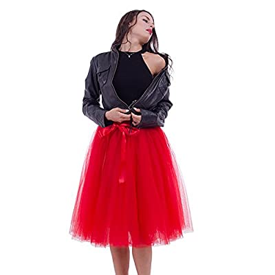 Women's High Waist Pleated Princess A Line Midi/Knee Length Tutu Tulle Skirt Prom Party
