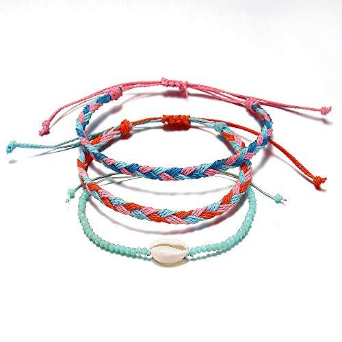 (AOASK Wave Bracelet Set Mountain Daisy Flower Heart Pearl Waterproof Wax Coated Braided Rope Friendship Bohemian Handmade Bracelet (Shell Set))