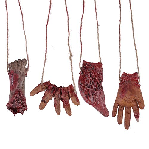Amosfun Halloween Realistic Broken Finger Realistic Body Part Organ Shape Hanging Decoration Tool Venue Layout Decoration Props 4PCS -