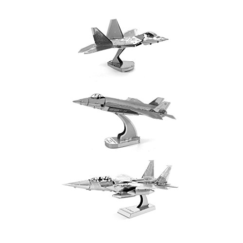 Fascinations Metal Earth 3D Metal Model Kits Set of 3 - F-22 Raptor - F-35 Lightning II - F-15 Eagle Fighter Jet Series