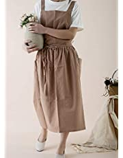 Japanese Cotton Linen Cooking Apron With Pockets Waterproof Adjustable Kitchen Aprons for Women