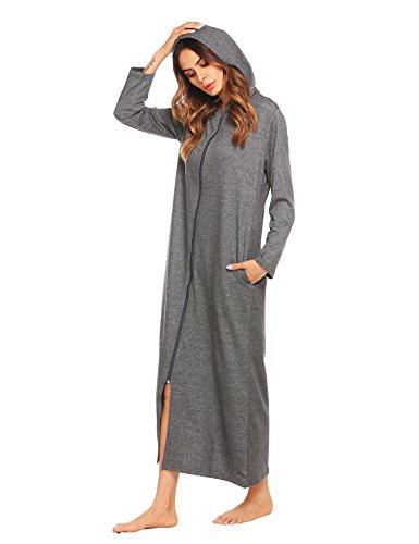 Langle Women's Long Soft Robes Comfort Sleepwear Zip Robe Loungewear (Dark Grey, XXL)