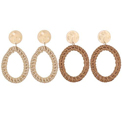 UEUC Woven Rattan Earrings Bohemian Handmade Straw Wicker Braid Drop Earrings Disc Lightweight Geometric Statement Dangle Earrings