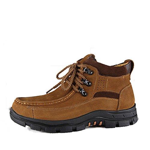 Scarpe casual maschile vestito alpinismo autunno all'aperto [fondo morbido] stivali slip on marrone-nero-A Lunghezza piede=38EU