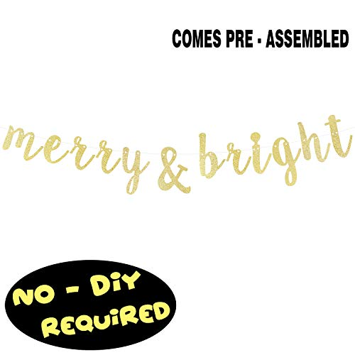 Merry Sign - Merry & Bright Gold Glitter Cursive
