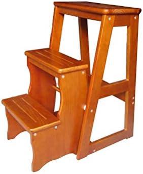 XITER Escalera Multifuncional Plegable de Madera del Taburete del Paso del 100% de 3 escaleras para el desván casero de la Cocina de la Biblioteca (Color : Wood): Amazon.es: Hogar