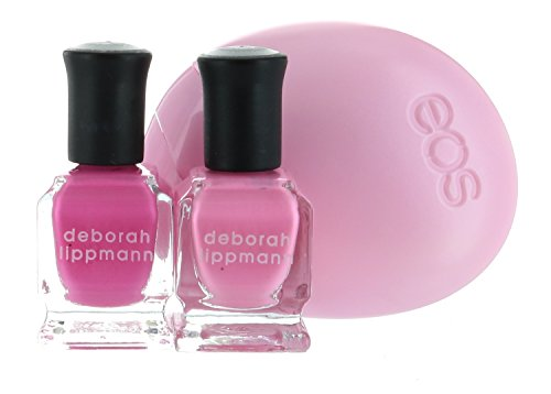 Deborah Lippmann Nail Lacquer Pink Set, In The Pink & Tickle Me Pink .27 FL/8ml each Plus GIFT EOS Berry Blossom Lotion