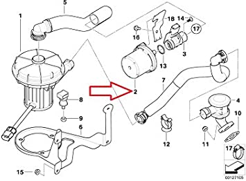 Secondary BMW Genuine Air Pump Filter for Emission Control for X5 3.0i 525i 530i 545i 645Ci 645Ci X3 3.0i