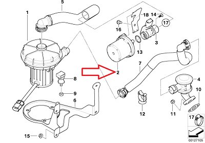 BMW Genuine Air Pump Filter (Secondary) for Emission Control for X5 3.0i 525i 530i 545i 645Ci 645Ci X3 3.0i