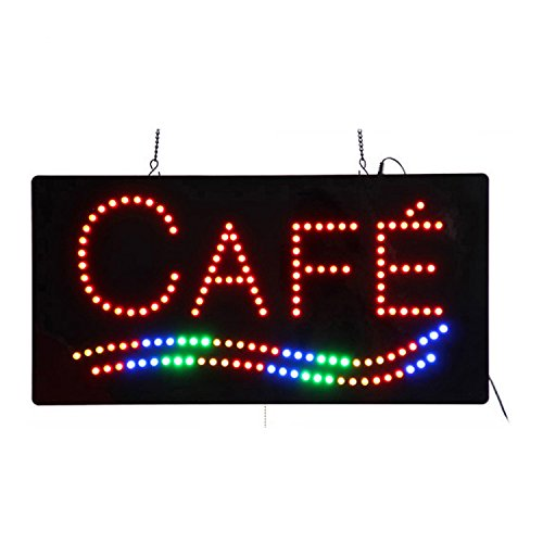 HIDLY LED Coffee Cafe Espresso Open Light Sign Super Bright Electric Advertising Display Board for Message Business Shop Store Window Bedroom 19 x 10 inches