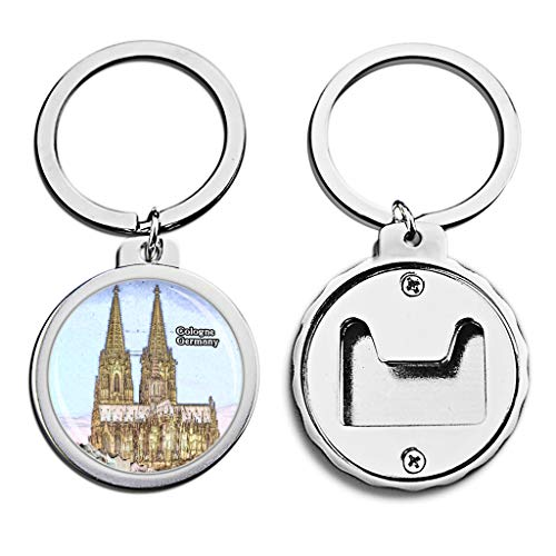 (Germany Bottle Opener Keychain Cologne Cathedral Mini Bottle Cap Opener Keychain Creative Crayon Drawing Crystal Key Chain Travel Souvenirs Metal)