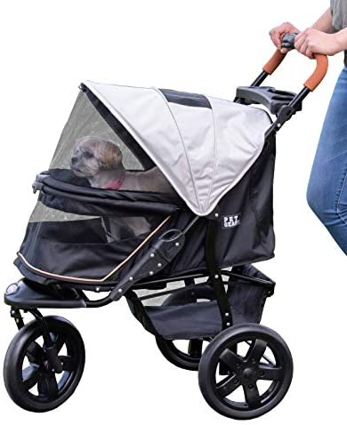 Pet Gear No-Zip Jogger Pet Stroller for Cats Dogs, Zipperless Entry, Easy One-Hand Fold, Air Tires, Cup Holder Storage Basket