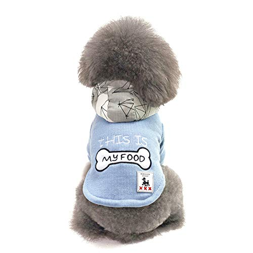 AMDXD Dog Clothes Winter Cotton Dog Sweater Blue Bone with Engraving Size -