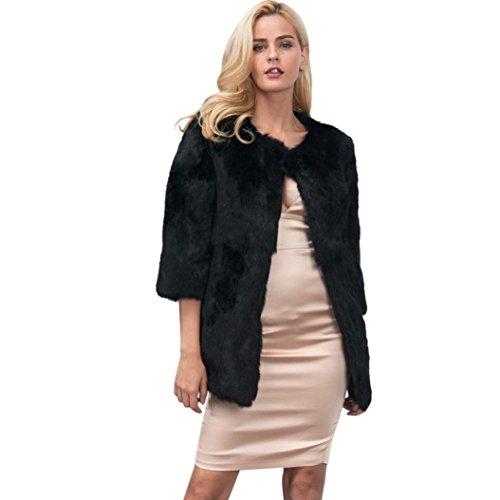 Price comparison product image Women Jacket, Gillberry New Ladies Womens Warm Faux Fur Coat Jacket Winter Parka Outerwear (L, Black B)