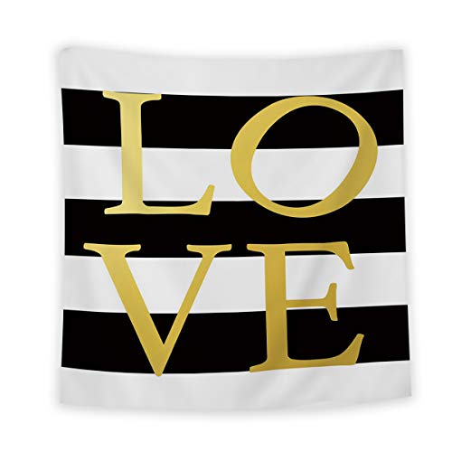 Wall Tapestry for Bedroom/Living Room/Girls Bedroom, Simple Black White Stripe Love Tapestry Wall Hanging Home Wall Decor Art, 39 x 59in ()