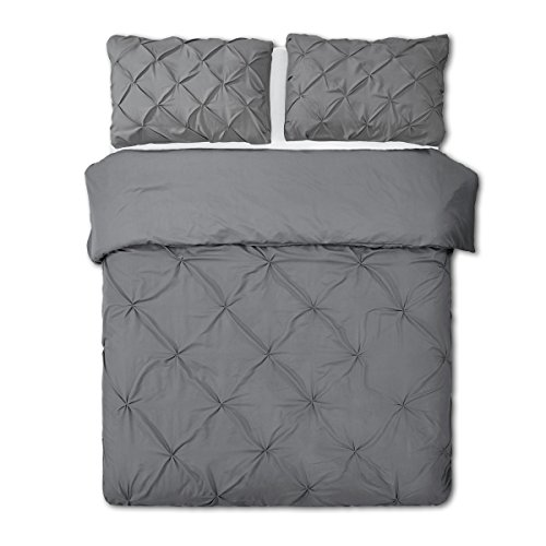 - Word of Dream Pinch Pleat Microfiber Duvet Cover Set 3 PC, King, Gray