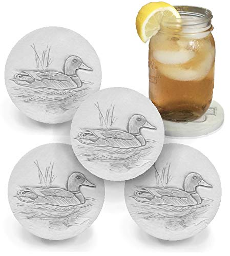 Drink Coasters by McCarter Coasters, Mallard Duck, Absorbent, Light Beige 4.25 inch (4pc)