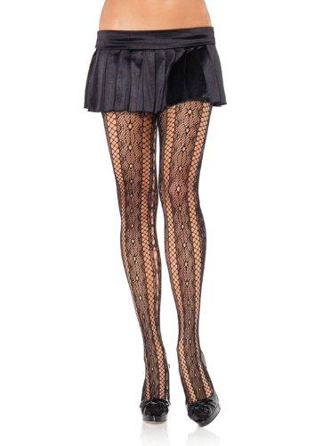 LA9162 Seamless Lattice Lace & Net Striped Pantyhose (Naked Steampunk Women)