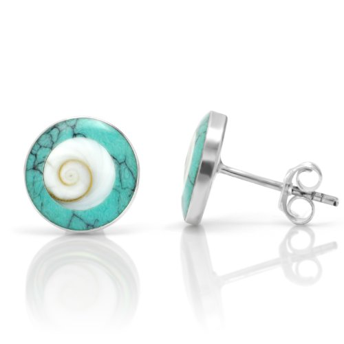 925 Sterling Silver Natural Shiva Eye Shell Inlay Blue Turquoise Round 11 mm Stud (Shell Inlay Earrings)