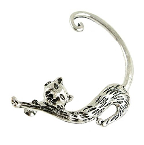 Watch Woods Ladies Tiger (Winter's Secret Silver Enchanting Little Cat Ear Hanging Single Left Three-dimensional Animal Earring)