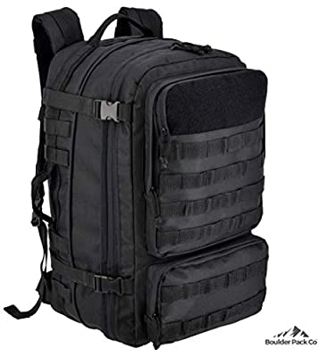 Boulder Pack Co. Military Tactical Backpack Bag, Large 40L, MOLLE Assault Pack with Rain Cover, Expandable Size and Water Bladder Compartment
