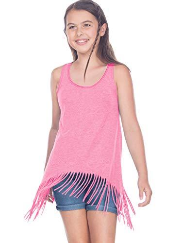 Raw Edge Cotton Jersey Tank - Kavio! Girls 7-16 Sheer Jersey Raw Edge Fringe Asymmetrical Tunic Tank Pink Flash M