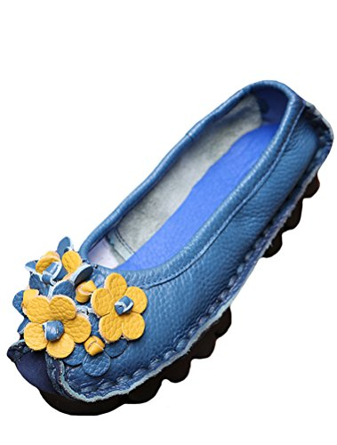 Women Leather Floral Flat Shoes Pump Style8 Vintage MatchLife Blue dEgqwT7d