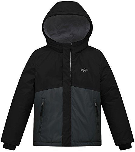 Wantdo Boy's Hooded Winter Jacket Thick Rain Coat Outerwear With Reflective Stripe(Black+Dark Grey, 10/12)