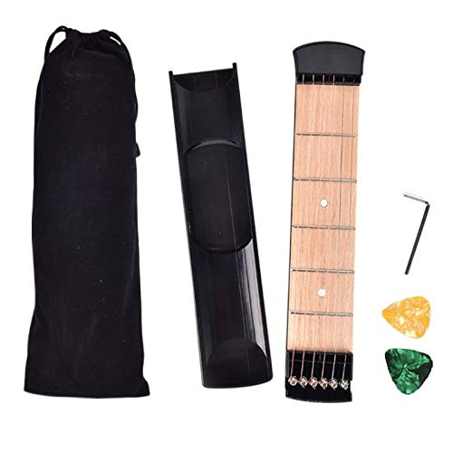 GOSONO Pocket Acoustic Guitar Practice Tool 6 String Fingerboard 6 Fret Chord Trainer Portable Gadget with 2 Pick