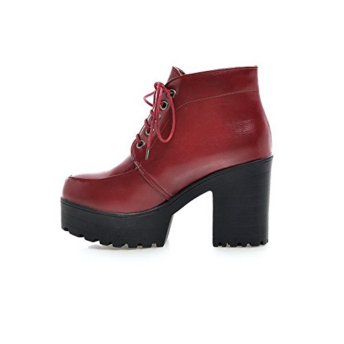 AgooLar Women's Solid PU High-Heels Lace-up Round Closed Toe Boots Claret mcsshxDGrs